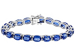 Pre-Owned Blue Nepalese Kyanite Rhodium Over Sterling Silver Tennis Bracelet 35.49ctw