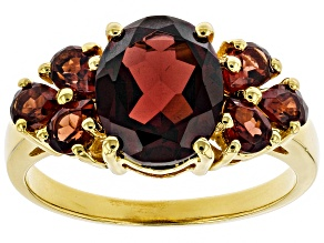 Pre-Owned Red garnet 18k gold over silver ring 3.60ctw