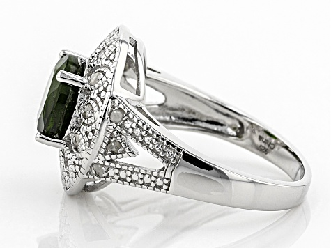 Pre-Owned Green Russian Chrome Diopside Rhodium Over Sterling Silver Ring 1.35ctw