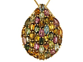 Pre-Owned Multi-color tourmaline 18k gold over silver pendant with chain 7.74ctw