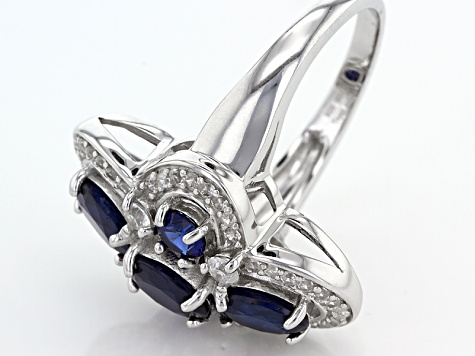 Pre-Owned Blue Sapphire Sterling Silver Ring 4.09ctw
