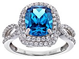 Pre-Owned Blue And White Cubic Zirconia Rhodium Over Sterling Silver Ring 6.00ctw