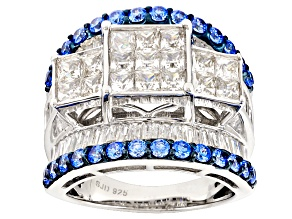 Pre-Owned Swarovski ® Blue Zirconia & White Cubic Zirconia Rhodium Over Silver Ring 7.24ctw