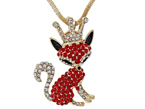 Pre-Owned Multicolor Crystal Black Enamel Gold Tone Fox Pendant With Chain