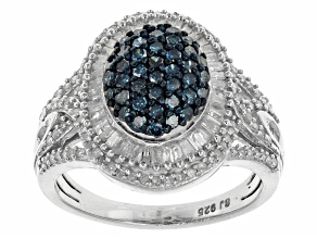 Pre-Owned Blue And White Diamonds Sterling Silver Ring 1.00ctw