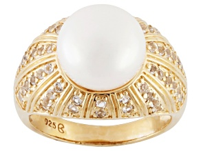 Pre-Owned White Cultured Freshwater Pearl, White Topaz 18k Over Silver Ring