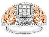 Pre-Owned Diamond Rhodium And 14k Rose Gold Over Sterling Silver Ring .40ctw