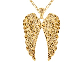 Pre-Owned Womens Round Golden Crystal Solid Gold Tone Angel Wing Pendant Necklace