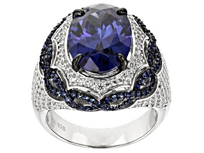 Pre-Owned Lab Created Sapphire, Blue, & White Cubic Zirconia Rhodium Over Silver Center Design Ring