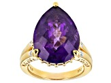 Pre-Owned Purple amethyst 18k yellow gold over sterling silver ring 10.22ctw