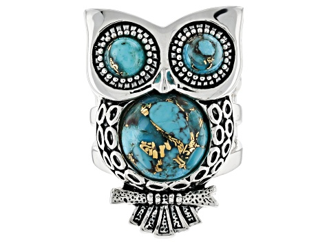 Pre-Owned Turquoise Sterling Silver Owl Ring