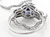 Pre-Owned Blue & Cubic Zirconia Rhodium Over Sterling Silver Ring 5.64CTW