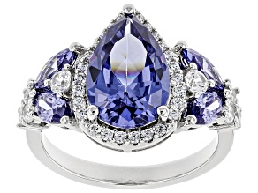Pre-Owned Blue & White Cubic Zirconia Rhodium Over Sterling Silver Center Design Ring 6.26ctw