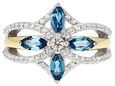 Pre-Owned London Blue Topaz & White Zircon Rhodium & 18K Yellow Gold Over Silver Ring