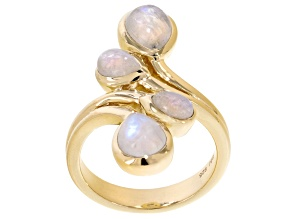Pre-Owned Rainbow Moonstone 18k Yellow Gold Over Sterling Silver Ring