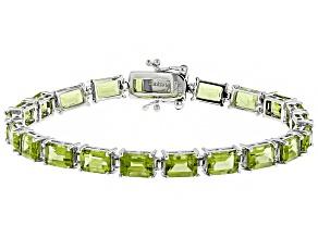 Pre-Owned Green peridot sterling silver tennis bracelet 20.00ctw