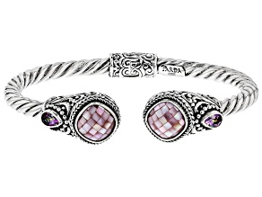 Pre-Owned Pink Mosaic Mother Of Pearl Silver Bracelet 0.86ctw
