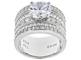 Pre-Owned White Cubic Zirconia Rhodium Over Sterling Silver Ring 6.93ctw