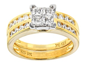 Pre-Owned White Cubic Zirconia 18k Yellow Gold Over Sterling Silver Ring With Band 2.25ctw