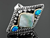 Pre-Owned White Culture Freshwater Pearl, Blue Lab Opal Silver, Copper Ring