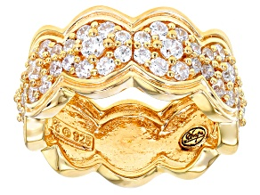 Pre-Owned White Cubic Zirconia 18k Yellow Gold Over Sterling Silver Double Weave Ring 2.92ctw