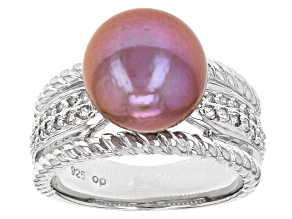 Pre-Owned Cultured Freshwater Pearl And White Topaz Rhodium Over Sterling Silver Ring 11mm