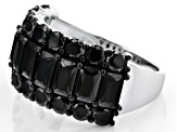 Pre-Owned Black Spinel Sterling Silver Ring 5.10ctw