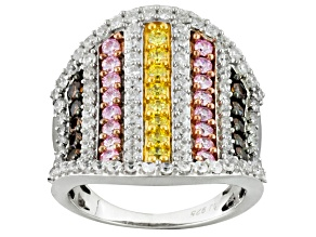 Pre-Owned White, Pink, Brown And Yellow Cubic Zirconia Silver Ring 4.65ctw (2.34ctw DEW)