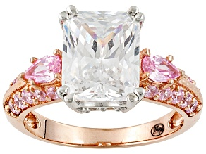 Pre-Owned Pink And White Cubic Zirconia 18k Rose Gold Over Sterling Silver Ring 6.69ctw