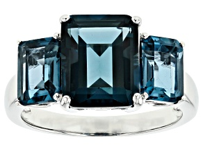 Pre-Owned London blue topaz rhodium over sterling silver ring 5.44ctw