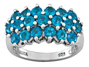 Pre-Owned 2.28ctw Round Neon Blue Apatite Sterling Silver Ring