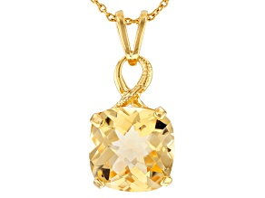 Pre-Owned Yellow Brazilian Citrine 18K Yellow Gold Over Sterling Silver Pendant With Chain 6.50ct