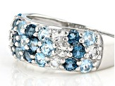 Pre-Owned blue topaz rhodium over silver ring 2.15ctw