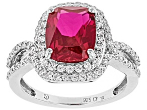 Pre-Owned Lab Created Ruby & White Cubic Zirconia Rhodium Over Sterling Silver Center Design Ring 4.