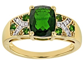 Pre-Owned Green Russian Chrome Diopside 18k Yellow Gold Over Sterling Silver Ring 1.95ctw