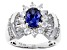 Pre-Owned Blue & White Cubic Zirconia Rhodium Over Sterling Silver Center Design Ring 4.30ctw