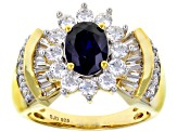 Pre-Owned Blue & White Cubic Zirconia 18K Yellow Gold Over Sterling Silver Center Design Ring 4.06ct