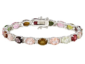 Pre-Owned Multi Tourmaline Rhodium Over Sterling Silver Bracelet 20.85ctw