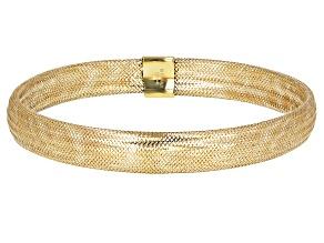 Pre-Owned 10k Yellow Gold Domed Mesh Bangle Bracelet 7.5mm