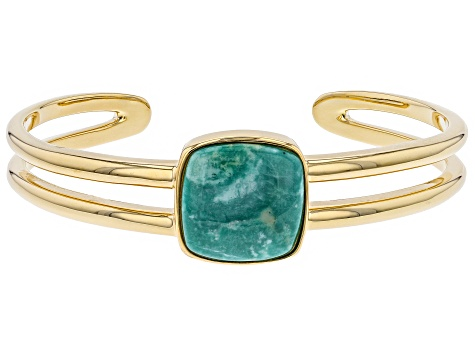 Pre-Owned Turquoise Green Kingman 18k Gold Over Silver Bracelet