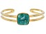 Pre-Owned Turquoise Green Kingman 18k Gold Over Silver Bracelet