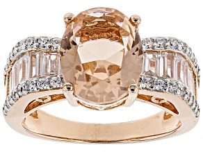 Pre-Owned Morganite Simulant & White Cubic Zirconia 18k Rose Gold Over Sterling Silver Ring 5.07ctw