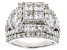 Pre-Owned White Cubic Zirconia Rhodium Over Sterling Silver Cluster Ring 5.90ctw