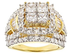 Pre-Owned White Cubic Zirconia 18K Yellow Gold Over Sterling Silver Cluster Ring 5.90ctw