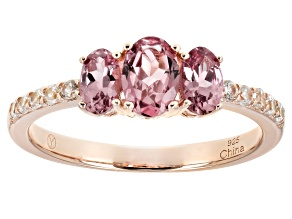 Pre-Owned Pink garnet 18k rose gold over sterling silver 3-stone ring 1.32ctw