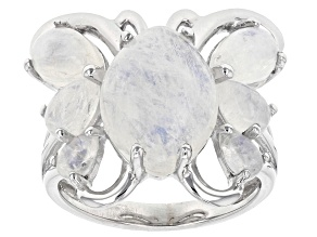 Pre-Owned White rainbow moonstone sterling silver butterfly ring