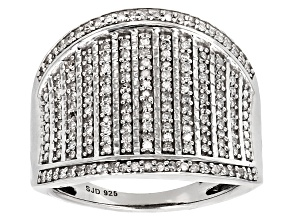 Pre-Owned White Diamond Rhodium Over Sterling Silver Ring .45ctw