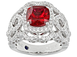Pre-Owned Red Synthetic Corundum And White Cubic Zirconia Platineve Ring 3.79ctw