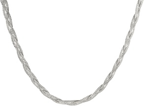 Pre-Owned Sterling Silver Reversible Braided Herringbone Necklace 18 inch
