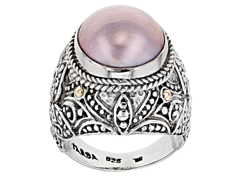 Pre-Owned Pink Cultured Mabe Pearl Sterling Silver With 18k Gold Accent Ring